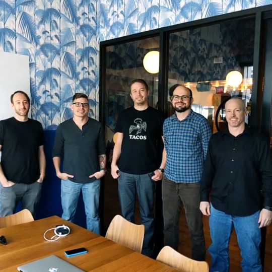 Entermedia development team in Austin. From left: Steve Elkins, Ben Marshall, Ryan Oles, Campbell LeFlore (project Manager), and Chris Kendall