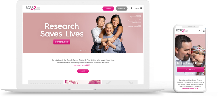 Homepage for BCRF.org on Desktop and Mobile. We optimized the website for our client, Breast cancer research foundation, for better site performance