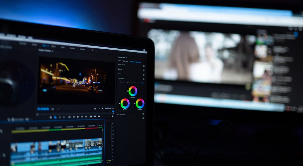 Editor display video editing color grading to upload content on social media or worldwide