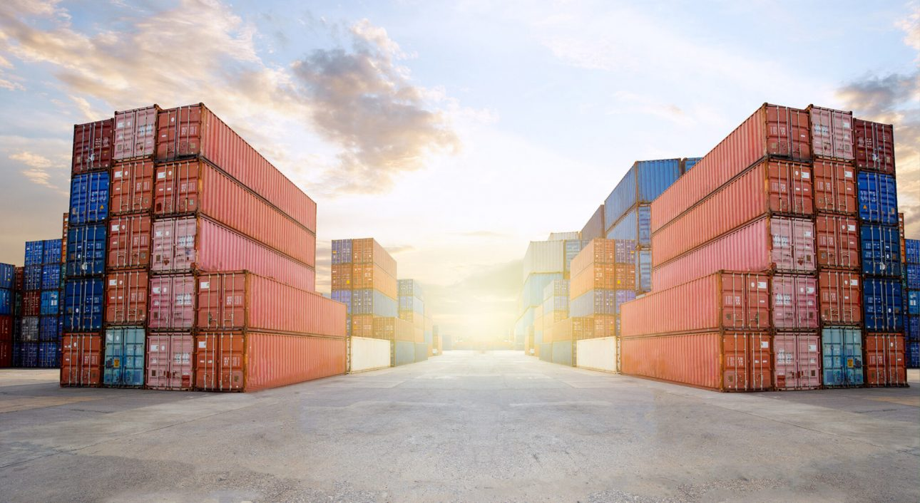 Transportation Logistics of international container cargo shipping and cargo plane in container yard